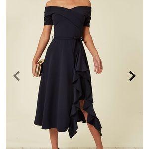 SilkFred Navy Blue Bardot Off the Shoulder Dress